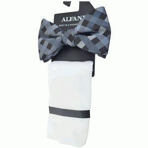 Alfani Mens Venus Neat Bow Tie Pocket Square Black